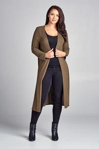 Curvy Cardigan with Side Slits - Olive