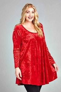 Plus Size Velvet Babydoll Dress