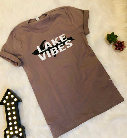 """UP Lake Vibes"" Graphic Tee - Mocha"