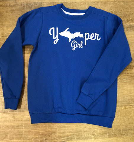 """Yooper Girl"" Fleece Sweatshirt - Hematite Blue"