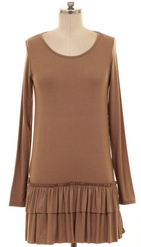 Mocha Ruffled Top