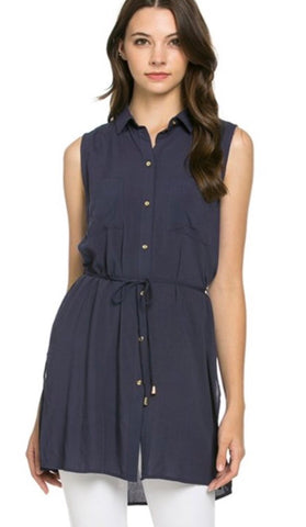 Cute as a  Button Top - NAVY