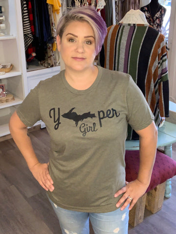 """Yooper Girl"" Graphic Tee - Army"