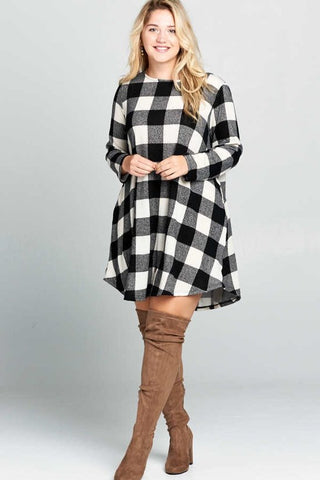 Curvy Black/White Buffalo Plaid Swing Dress