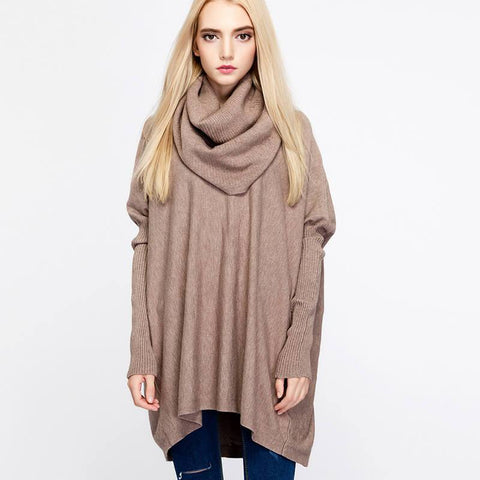 Loose Turtleneck Batwing Sweater