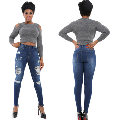 High Waist Stretch Ripped Skinny Denim Pants