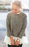 Collar Splicing Solid Color Knit Lace Sweater - Meet Yours Fashion - 1