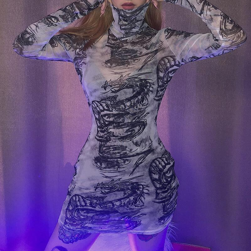 White Turtleneck Mesh Print See Through Bodycon Dress