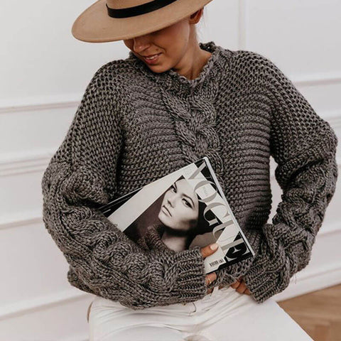 Soild V Neck Cable Knitted Sweater