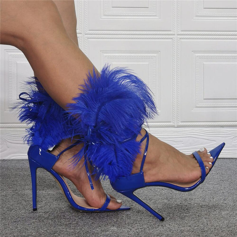 Fashion Patent Leather Fur Open Toe High Heel Sandals