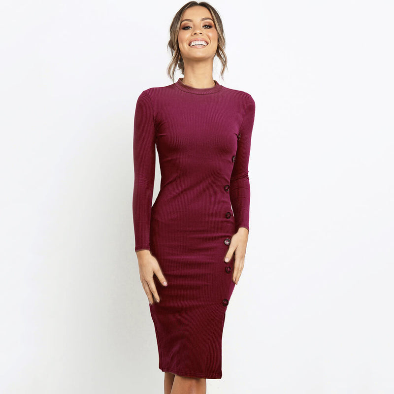 Ribbed Long Sleeve  Midi Slinky Dress