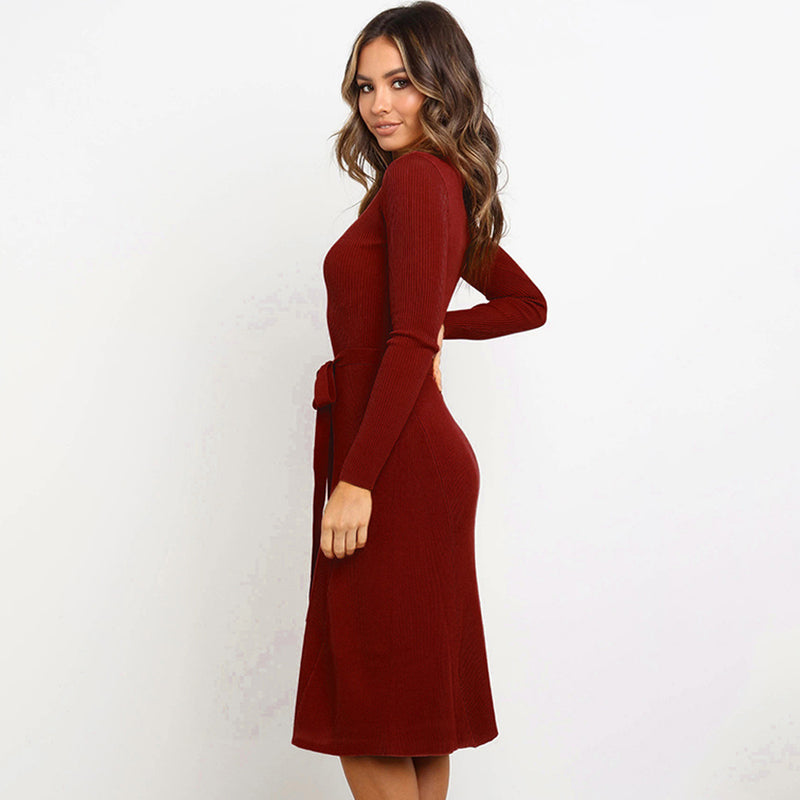 Casual Long Sleeve Belt Plain Sweater Dress