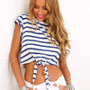 Striped Bare Midriff Bowknot Short Sleeves Crop Top - Meet Yours Fashion - 1