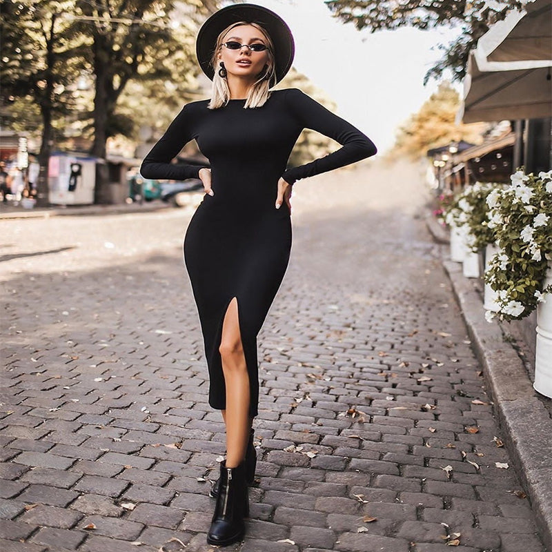 Plain Backless Bodycon Slit Corset Dress