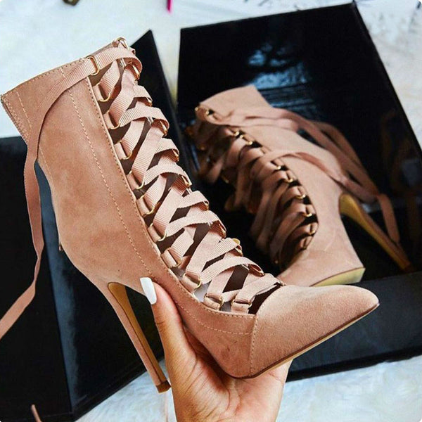Hollow Out Lace Up Pointed Toe Stiletto High Heels Short Boots Shoes