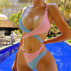 Hot Colorblock Cutout Mid Rise Thong Bottom Bikinis