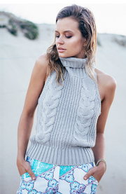 Sleeveless High Backless Knit Pullover Sexy Sweater - Meet Yours Fashion - 1