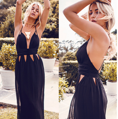 Hollow Out Backless Spaghetti Strap Beach Dress - Meet Yours Fashion - 1