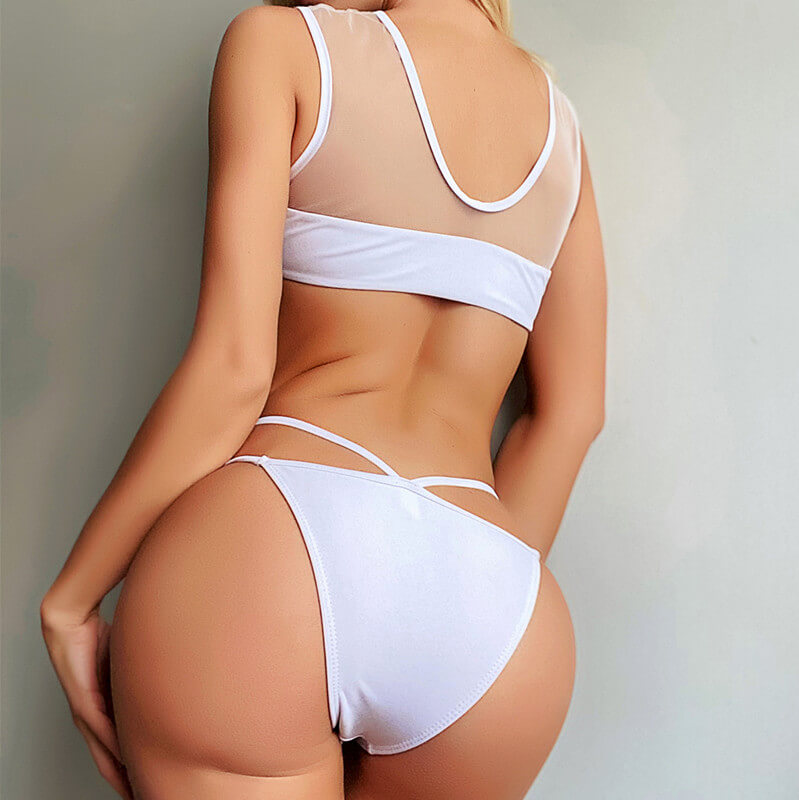 White Mesh See Though Thong Bottom Bikinis