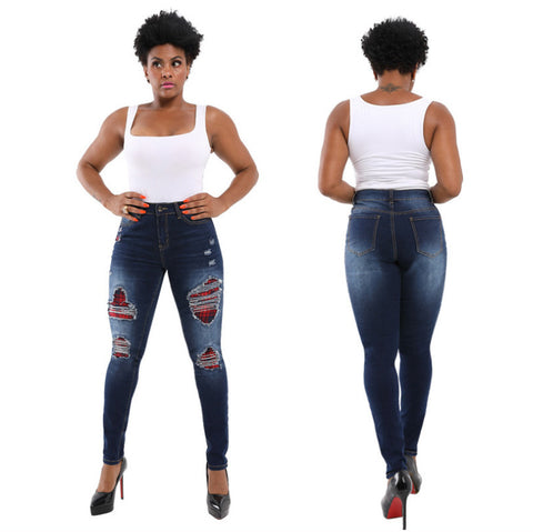 Ripped Bodycon High Waist Stretch Jeans Pants