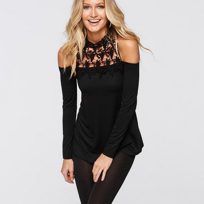 Lace Patchwork High Neck Off-shoulder Long Sleeves Sexy Blouse