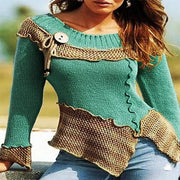 Colorblock Patchwork Long Sleeved Knit Sweater
