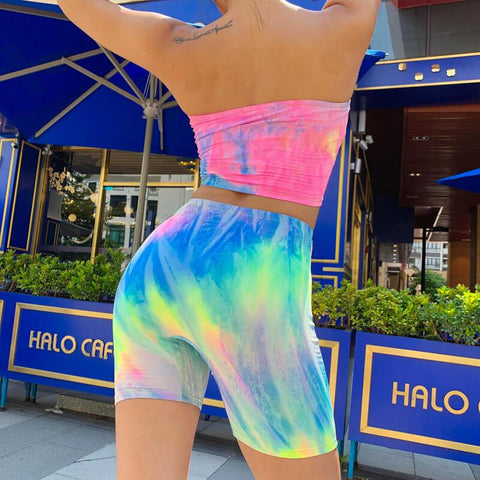 Party Strapless Tie Dye High Waist Bodycon Two Pieces Set