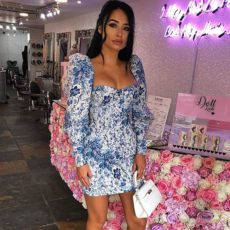 Blue Puff Sleeve Strapless Floral Bodycon Dress