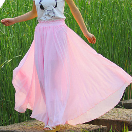 High Waist Pure Color Loose No Packets Long Skirt