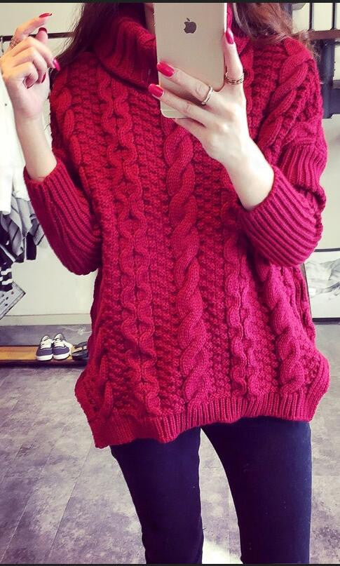 Retro Style Braid Knitting Plus Size Sweater