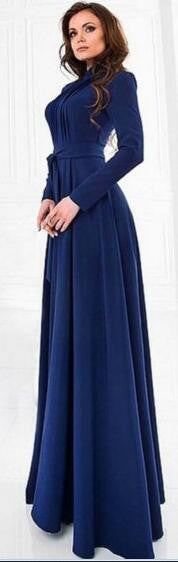 Blue Round Neck Long Sleeve Belt Long Dress