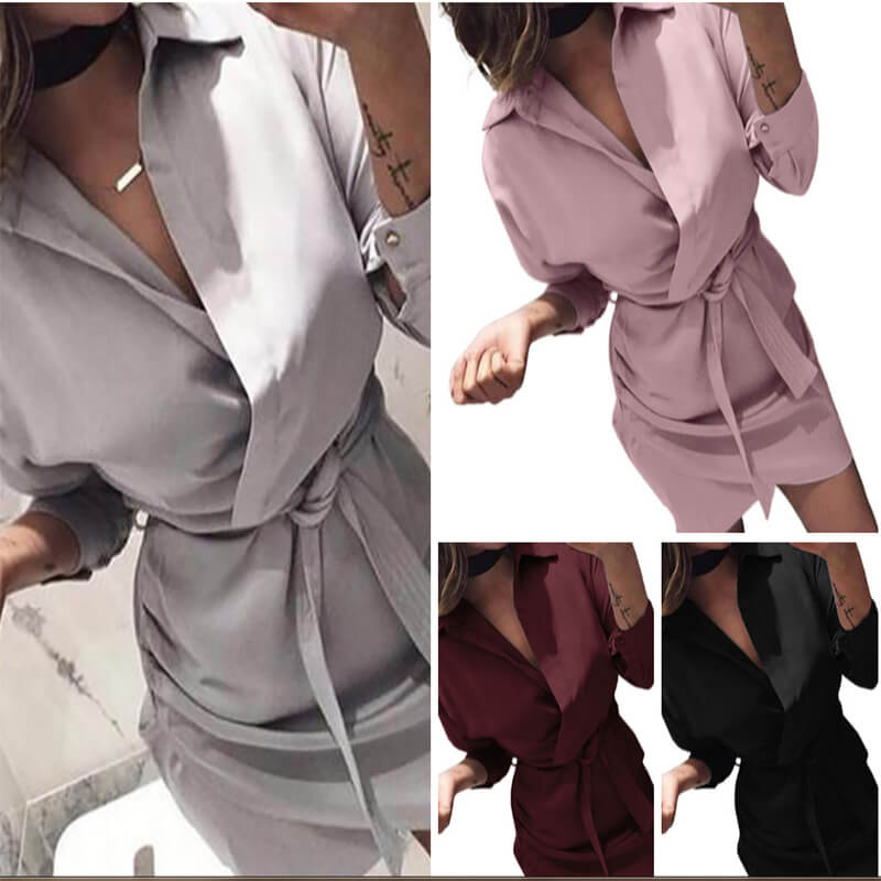 Casual Long Sleeve Belt Ruched Shirt Dress