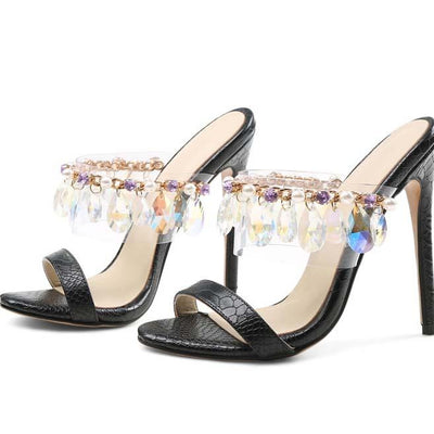 Black Rhinestone Leather Slip-On Sandals