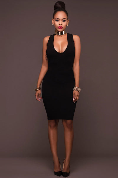 Deep V-neck Backless Straps Cross Bodycon Knee-length Dress