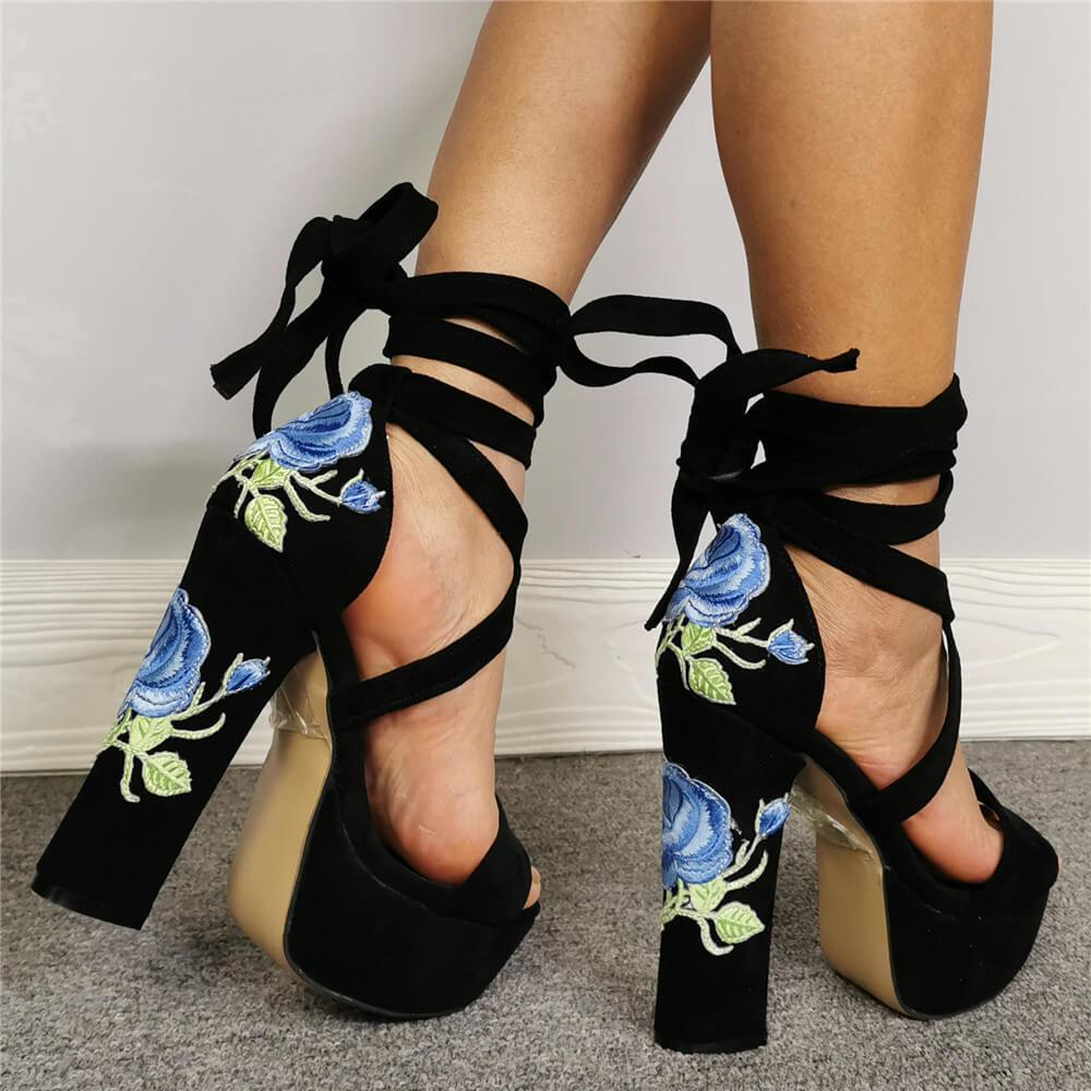 Suede Platform Embroidery Strap Chunky Heel Sandals