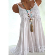 Spaghetti Strap Loose Pure Color Sleeveless Long Blouse