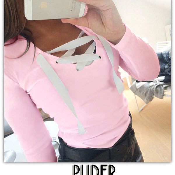 Candy Color Straps Lace-up V-neck Sweater