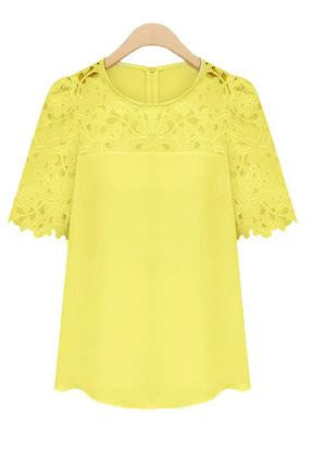 Lace Patchwork Short Sleeves Scoop Hollow Out Chiffon Blouse - Meet Yours Fashion - 6