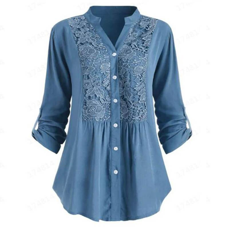 Lace V-neck Long Sleeves T-shirt