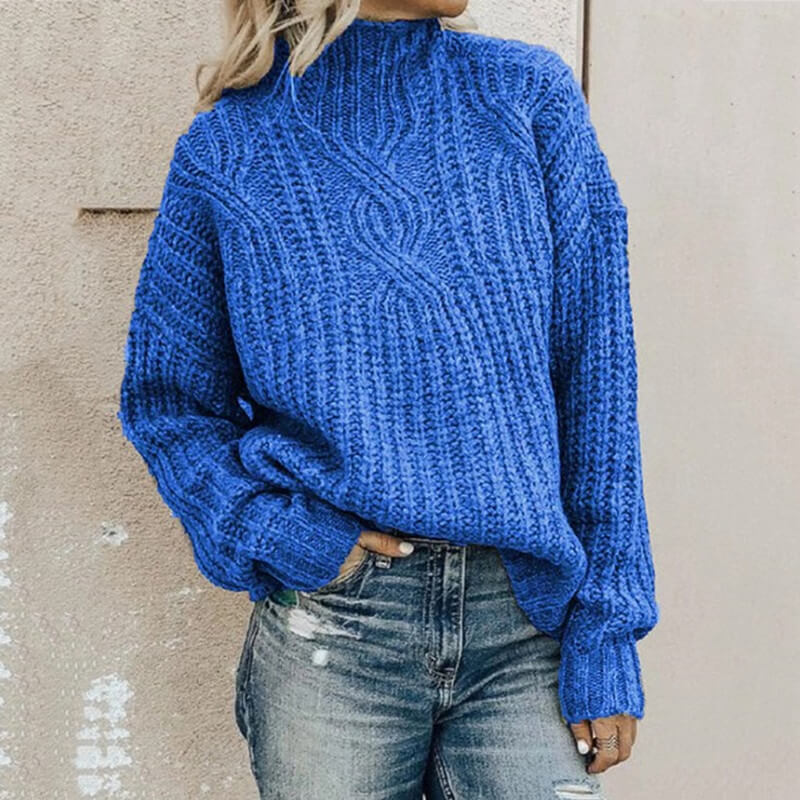 Ribbed Turtleneck Thick Sweater