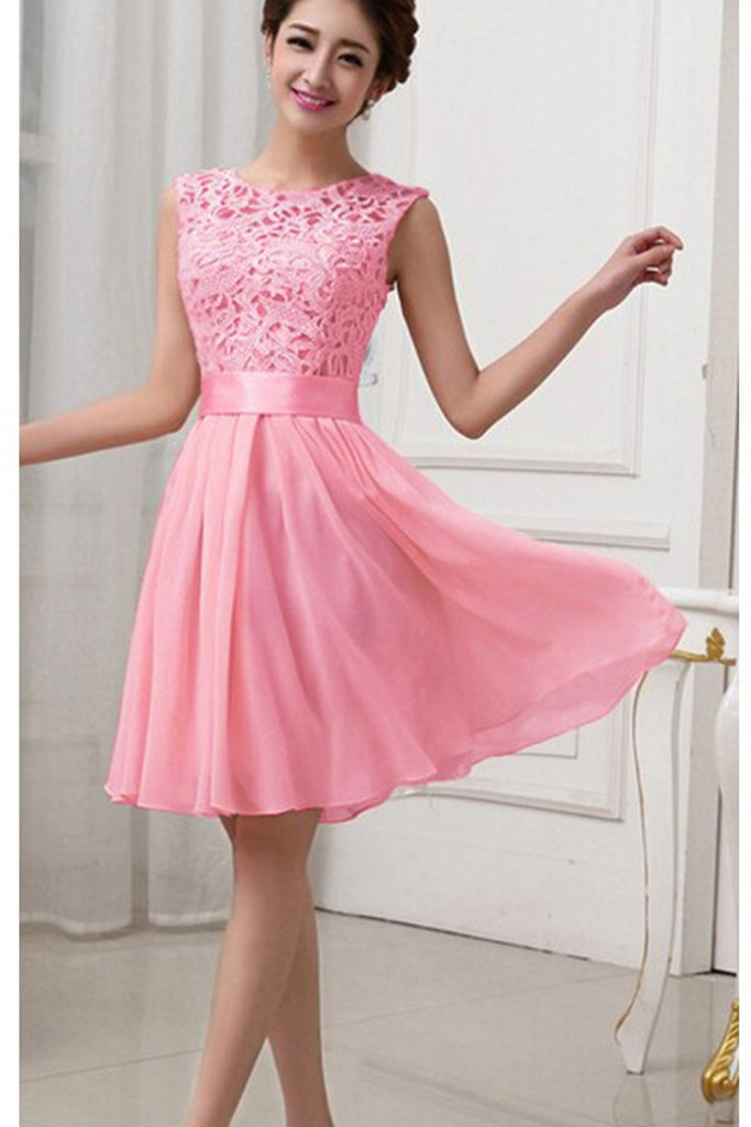 Hollow Out Pure Color Lace Chiffon Patchwork Knee Length Party Dress