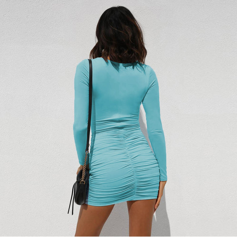 Long Sleeve Bodycon Cutout V Neck Mini Dress