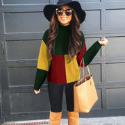 Turtleneck Colorblock Corduroy Sweater