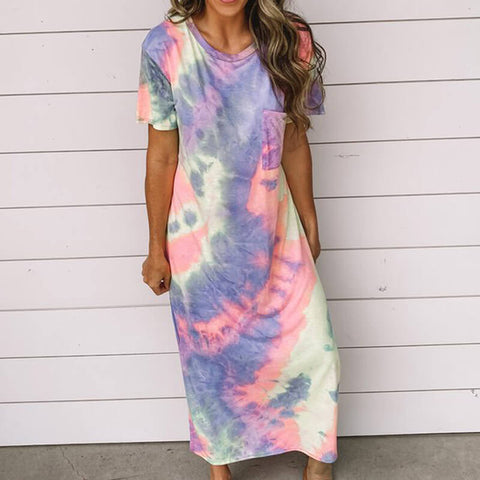 Multicolor Loose Ankle Length T Shirt Dress