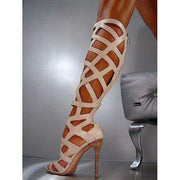 Hollow Out Stiletto Heel Peep-toe Back Zipper High Heel Gladiator Sandals