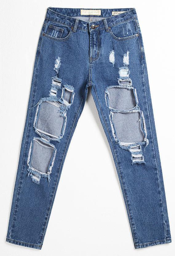 Holes Loose Solid Blue Straight 9/10 Boyfriend Jeans - Meet Yours Fashion - 7