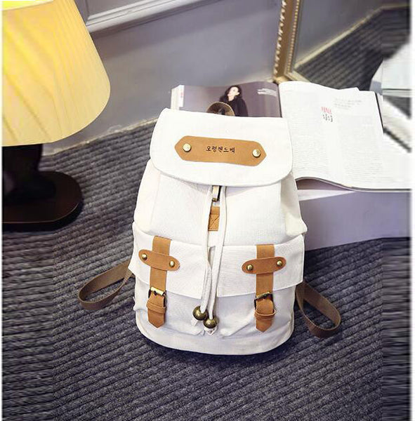 Belt Fastener Solid Color Canvas Backpack School Bag - Meet Yours Fashion - 4