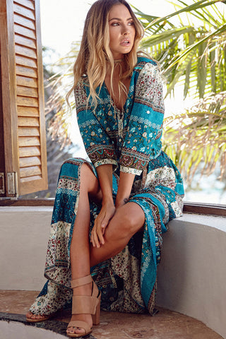Print 3/4 Sleeves Bohemian Beach Dress