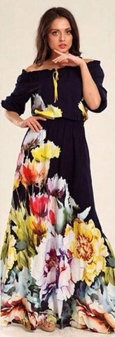 Floral Print Puff Sleeve Long Dress