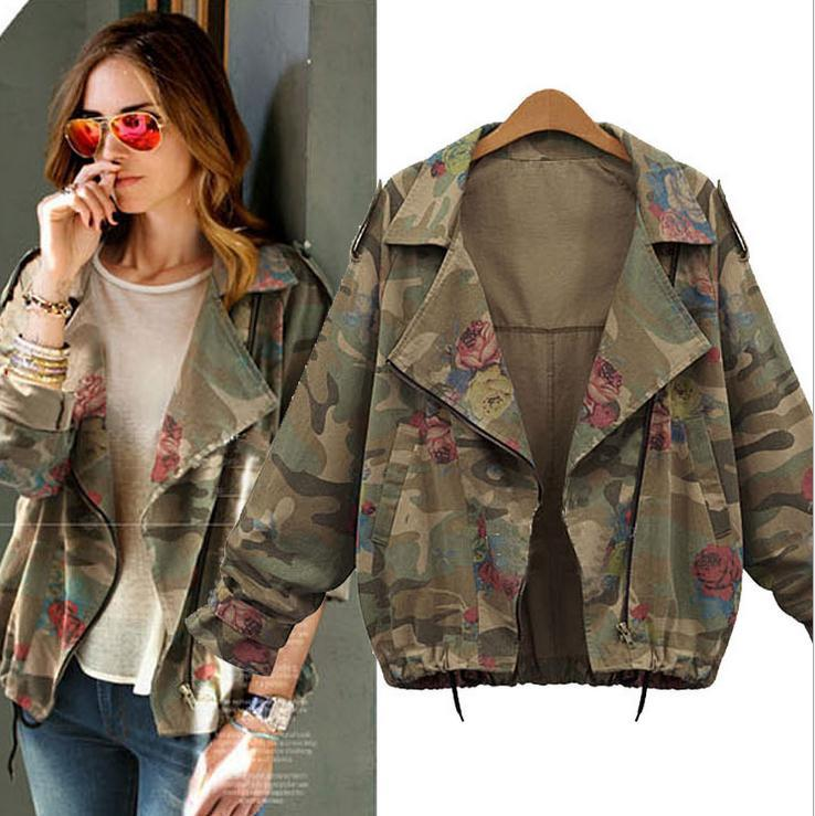 Bat-wing Sleeves Camouflage Casual Flower Print Long Sleeves Short Coat - Meet Yours Fashion - 2